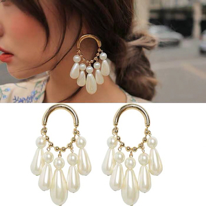 Wholesale Fashion Korea Jewelry Vintage Pearl Drop Circles Hoop Earrings For Women Party Christmas Gift