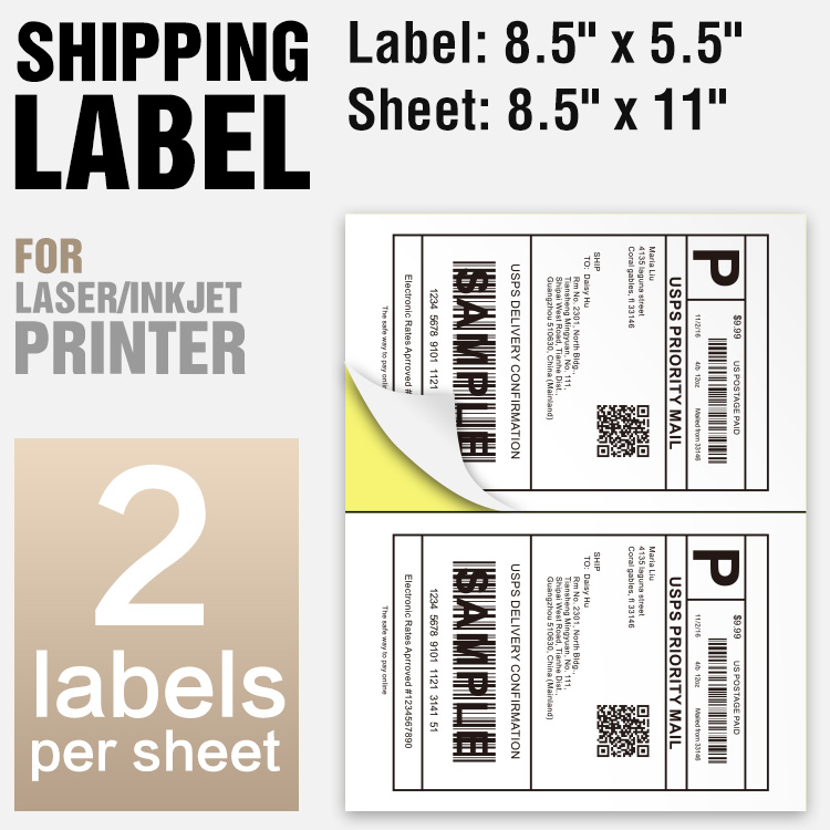 Straight Cut 4000 Half sheet shippping packing labels 8.5x5.5 Self Adhesive