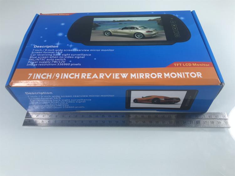 7-polegadas exibição espelho retrovisor monitor de vídeo hd de Rega carro invertendo exibição on-board exibição do registro de condução
