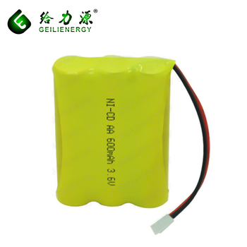 Whosale price nicd aa 500mah/600mAh 3.6v rechargeable battery pack for cordless phone