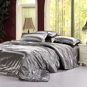 95gsm 4 Pce Luxury Satin Silk Soft QUEEN Bed Fitted Sheet Set -BLACK