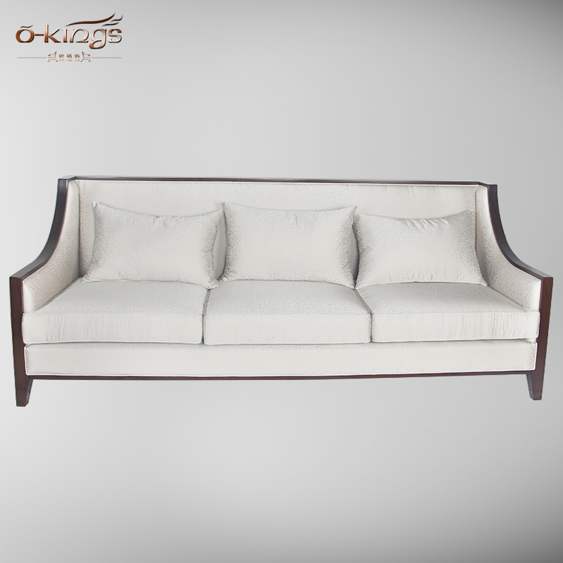 factory custom chinese style Beech wood 3 seats luxury hotel living room sofa