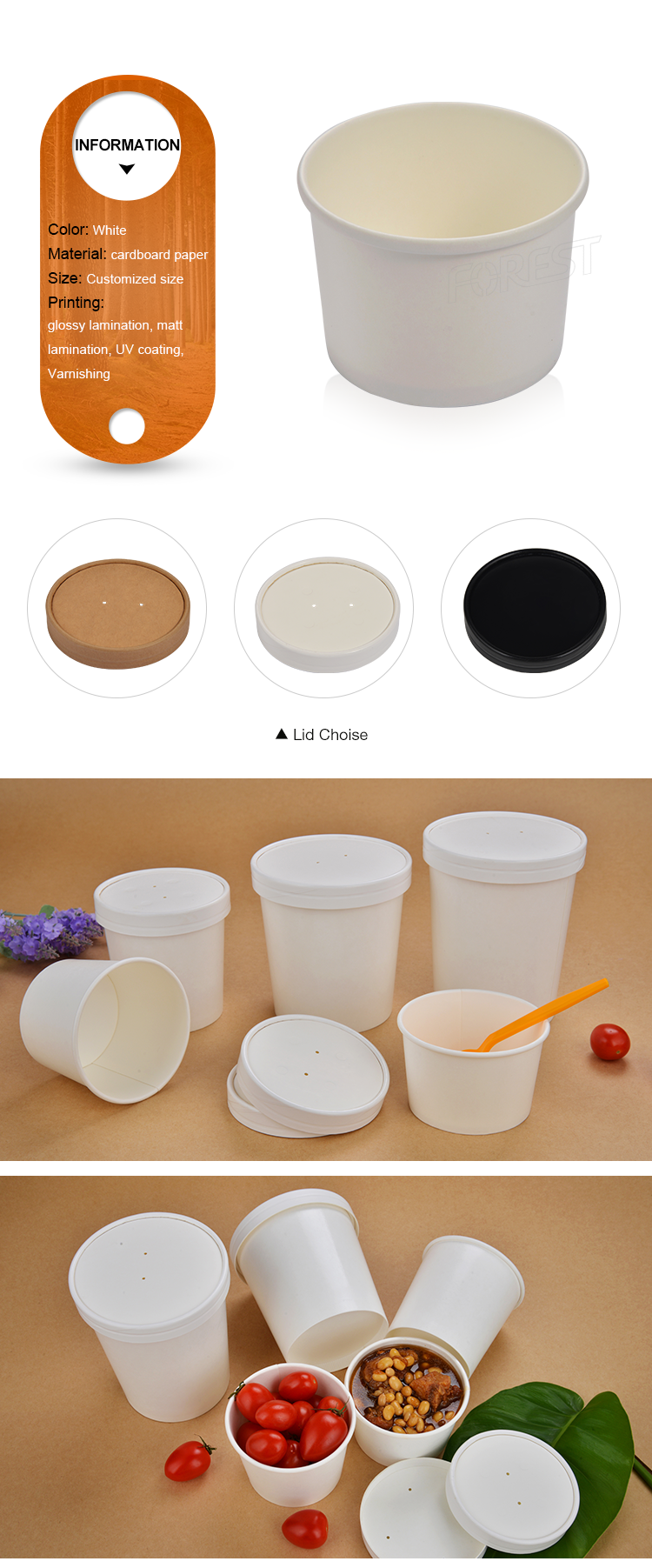 Logo printed disposable food snack fruit salad cup