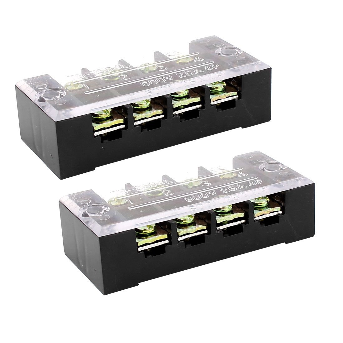 Aexit 2pcs 600V 25A 4 Position Dual Row Barrier Terminal Block Strip w Cover