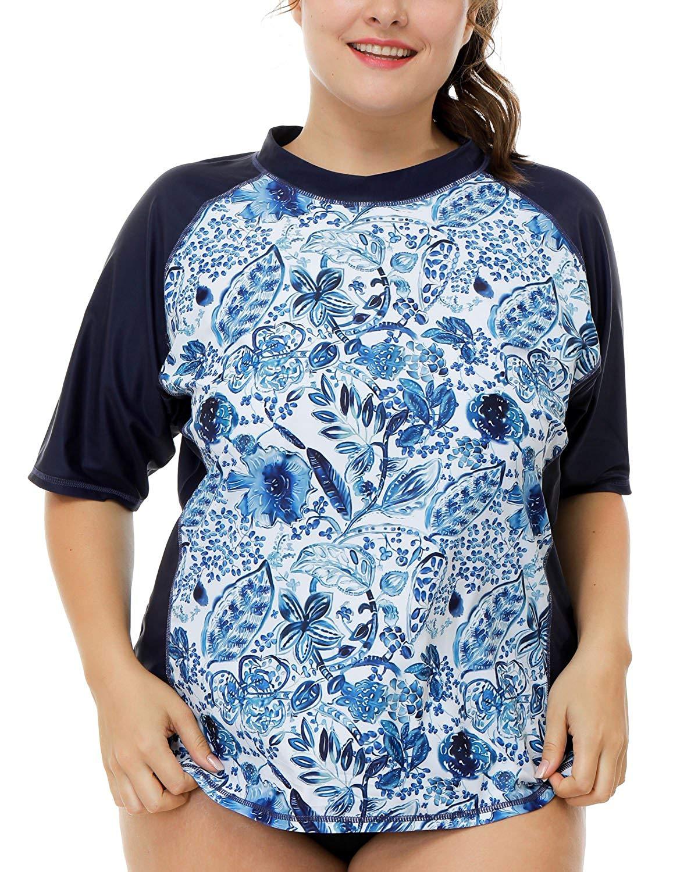 60005e0aef756 V FOR CITY Women s Plus Size Solid UPF 50+ Swim Shirt Active Rashguard Work  Tops