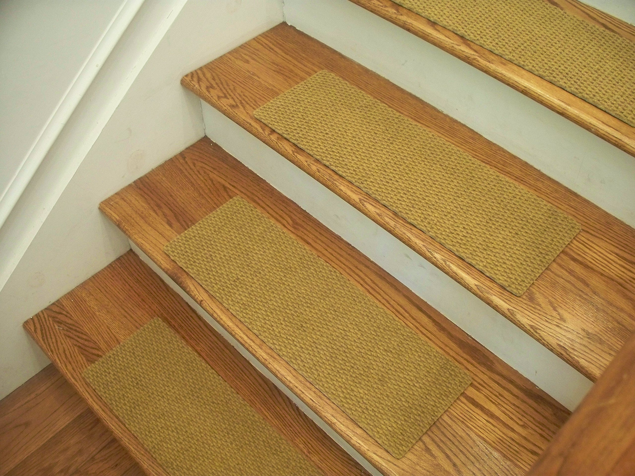"""Essential Carpet Stair Treads - Style: Berber - Color: Natural - Size: 24"""" x 8"""" - Set of 15"""