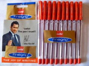 10 X Cello Fine Grip Non-stop Writing Ball Point Pen RED Ink Writing Ballpoint Pen # Brand Ad By Indian Cricketer Mahindera Singh Dhoni