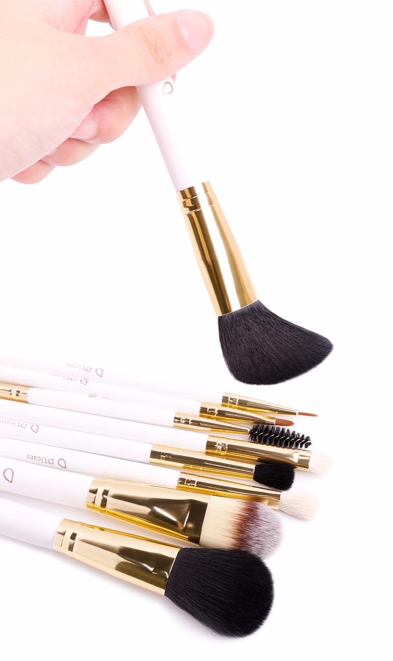 Professional 8pcs Faux Crystal Zircon Fiber Hair Makeup: DUcare Make Up Brushes 8pcs Brush Set Professional Nature