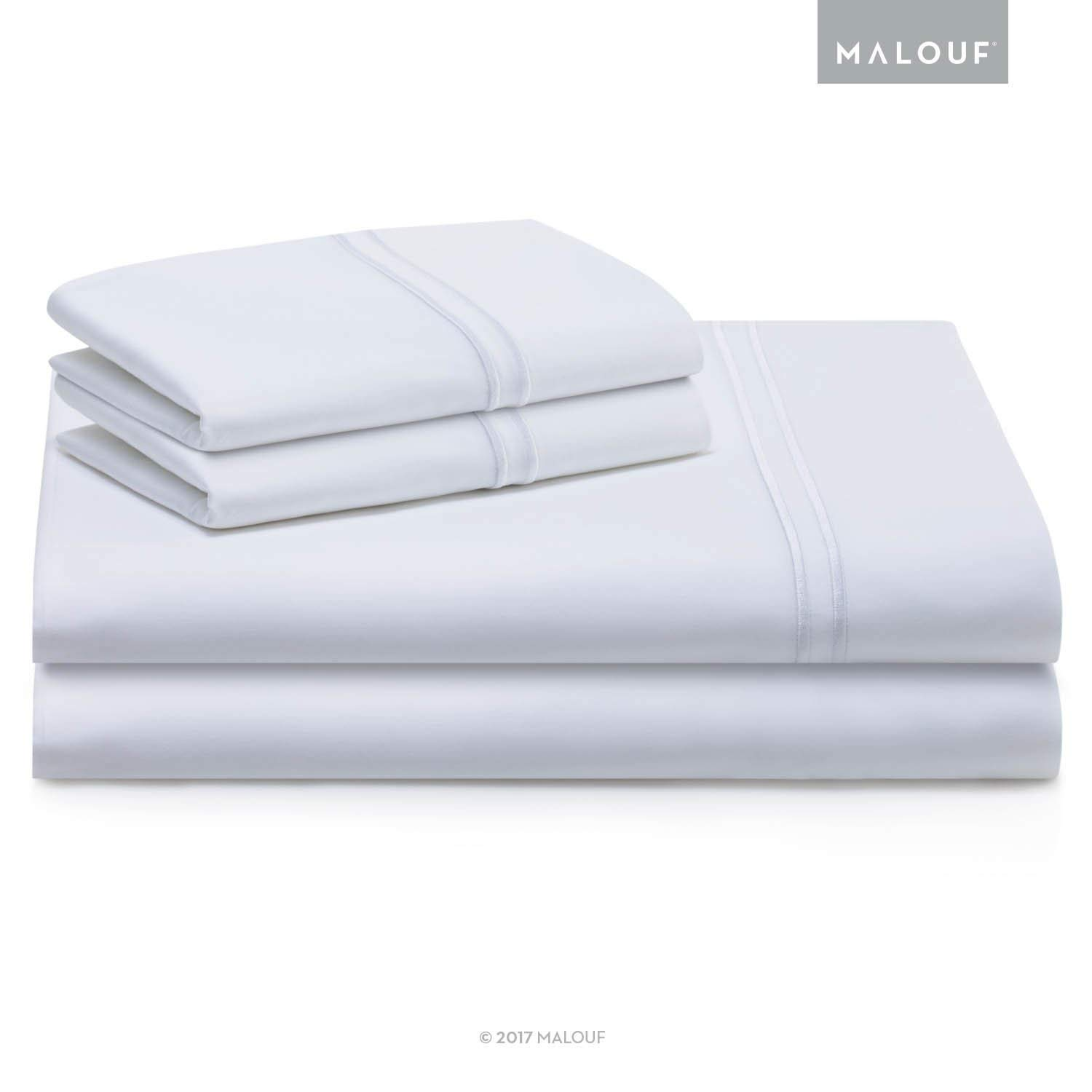 MALOUF Woven Supima Premium Cotton Sheets - 100 Percent American Grown - Extra Long Staple - Sateen Weave - Extra Deep Pockets - Single Ply - 600 Thread Count - King - White