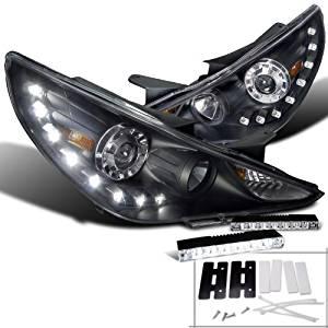 Hyundai Sonata Black SMD LED DRL Projector Headlights+6-LED Bumper DRL