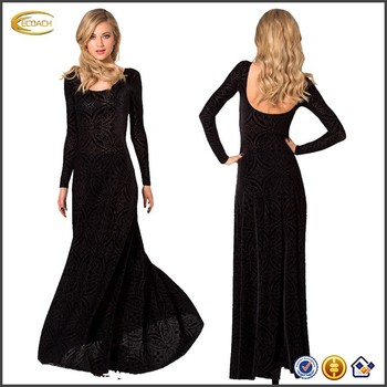 Winter Black Velvet Evening Dress Long Sleeve With Lace Buy Black