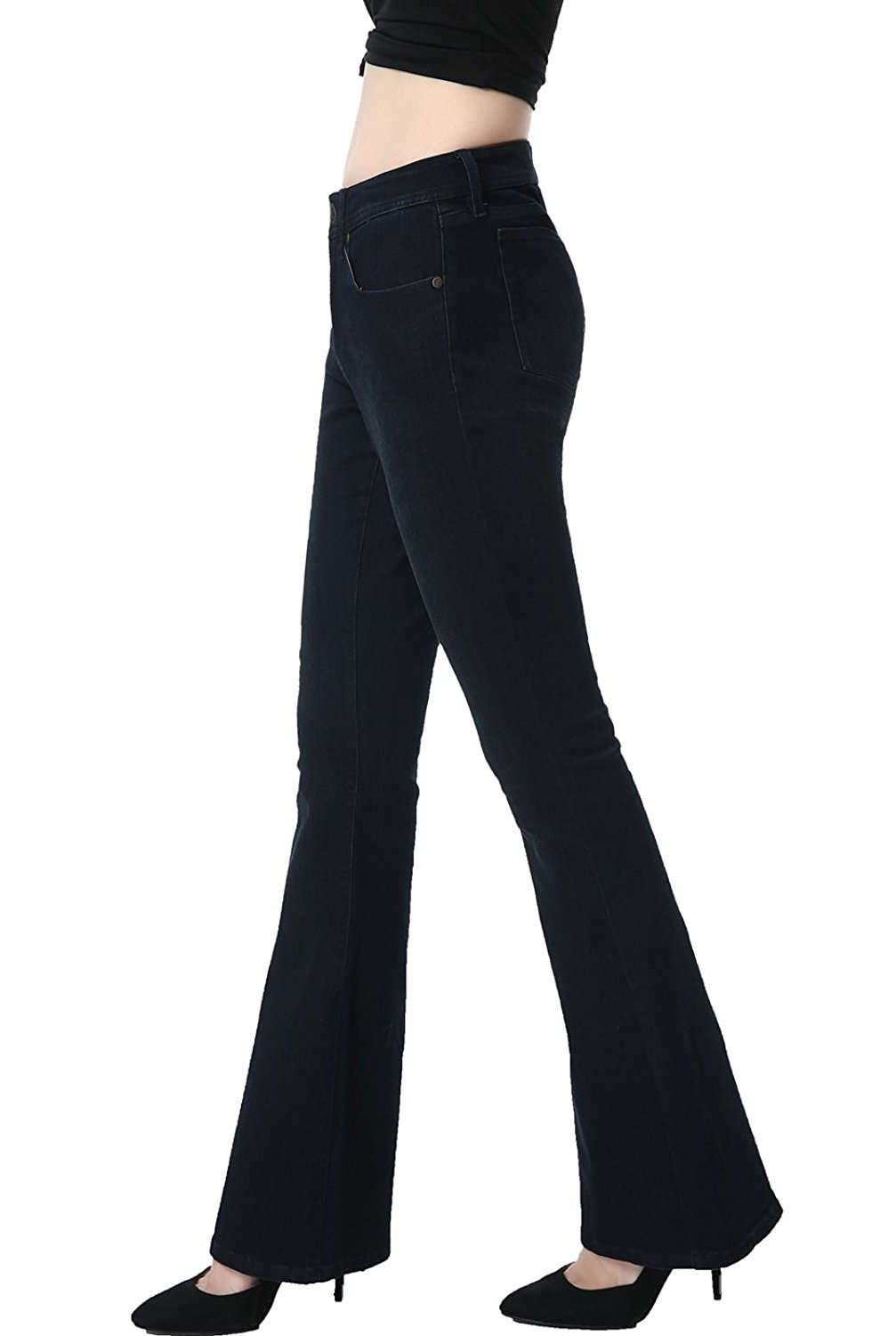 phistic Women's Ultra Stretch Black/Blue Flare Jeans