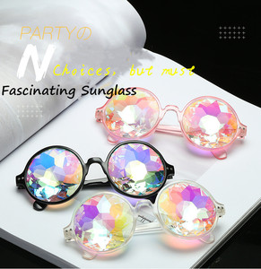 hot sale Mosaic crystal Kaleidoscope Luxury sunglasses Colorful Lens Glass Cosplay Custom sunglasses