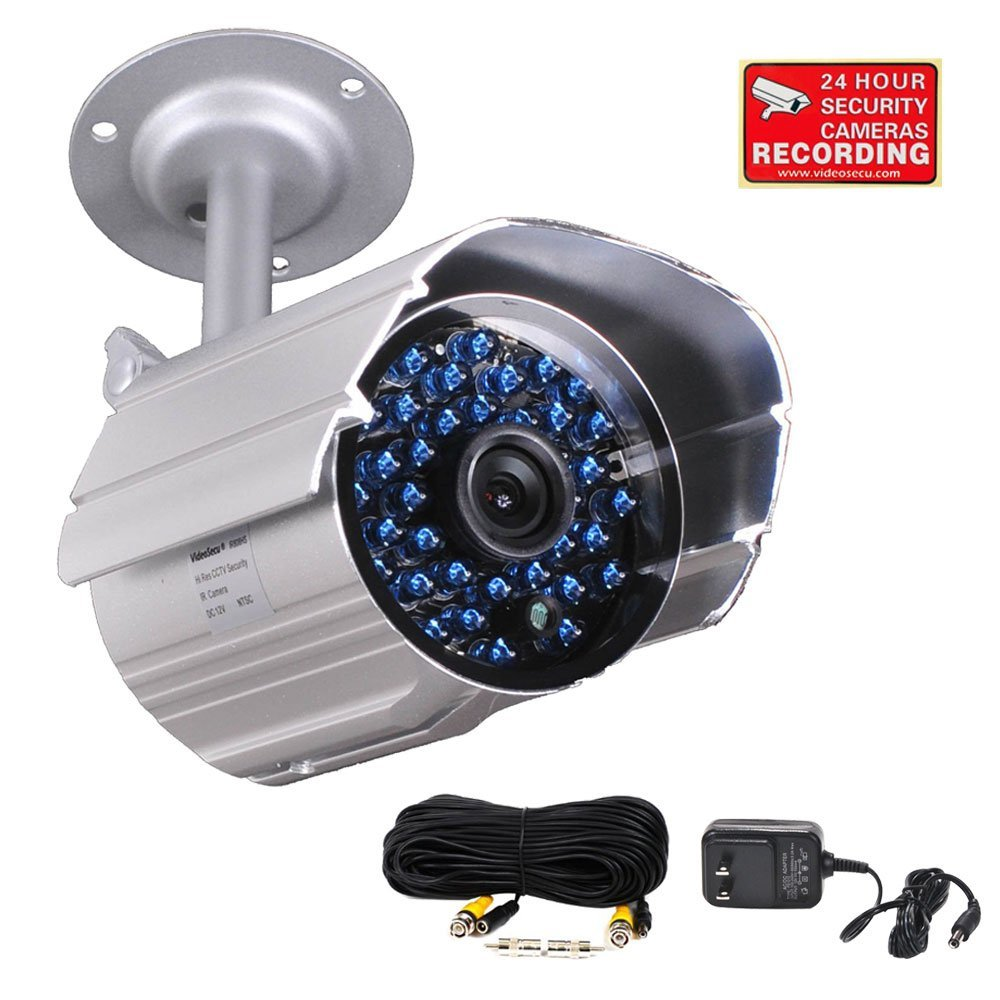 VideoSecu Infrared Day Night Outdoor Bullet Security Camera 520 TVL 36 IR LEDs Built-in Mechanical IR-Cut filter switch for CCTV DVR Home Surveillance with Free Power Supply and Cable C4P