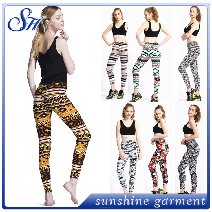 Wholesale double brushed baby butter soft printed 92% polyester 8% spandex milk silk leggings for women