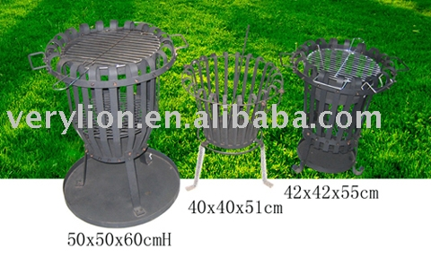 Round charcoal metal barbecue grill