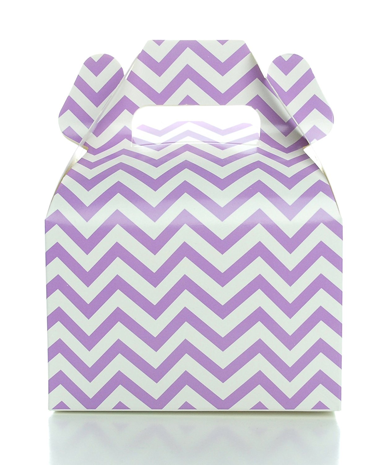 Purple Lavender Wedding Favor Boxes, Light Purple Chevron Zig-Zag Gable Box (12 Pack) - Mini Square Gift Boxes, Purple Party Supplies - Candy Box, Gift Box, Gable Boxes, Favor Box, or Treat Boxes
