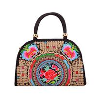 Ethnic Women Top-handle Floral Embroidered Casual Handbags Shoulder Bags