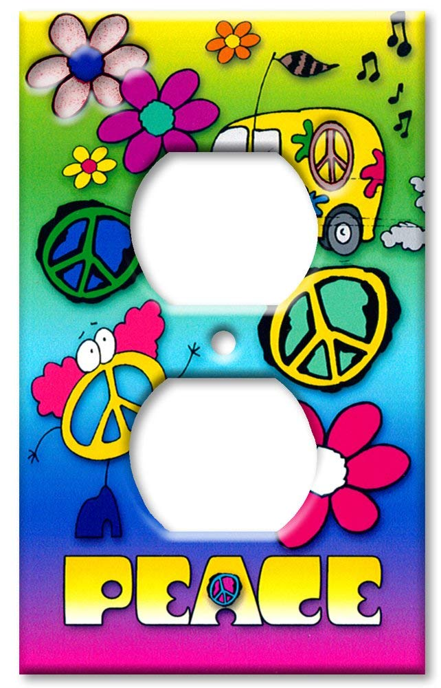 Art Plates - Outlet Cover OVERSIZE Switch Plate/OVER SIZE Wall Plate - Peace