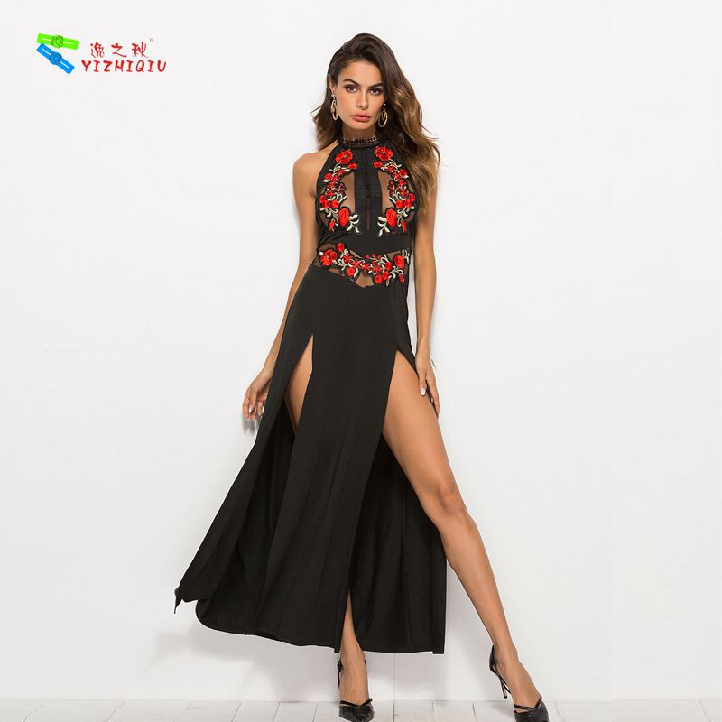 YIZHIQIU boho embroidered slim slit transparent beach dress