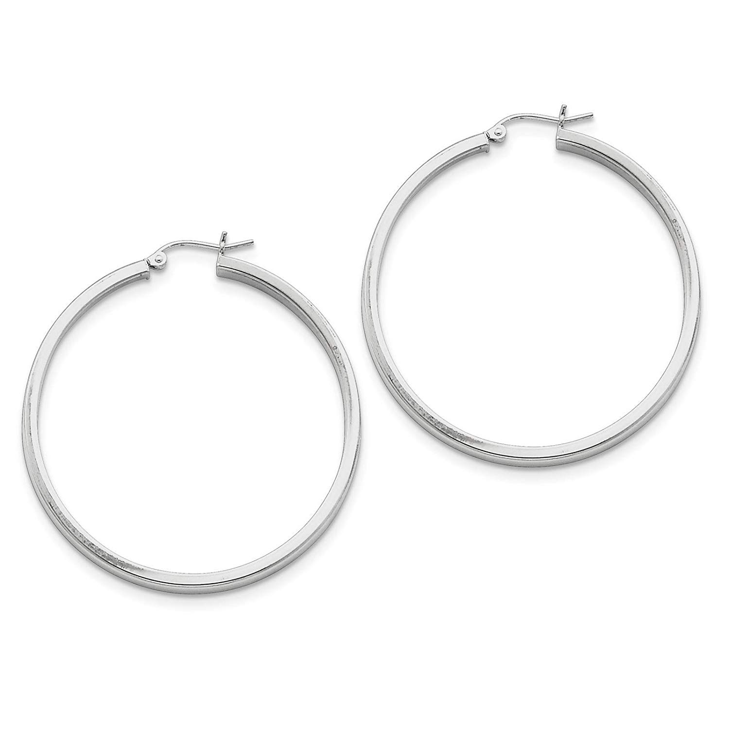 .925 Sterling Silver Rhodium-plated Polished Square-tube Hoop Earrings 3mm x 45mm