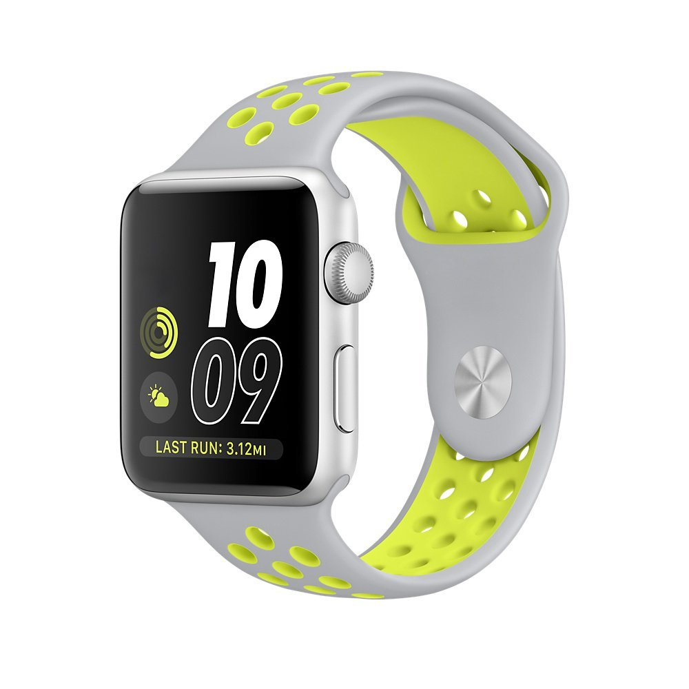 Apple Watch Nike+ Sport Band 42mm,Bandkin Soft Silicone Large Sports Bracelet Strap For iWatch Series 2 /Apple Watch Series 1(42mm Grey yellow)