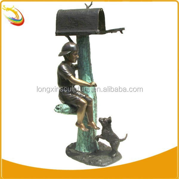 Bronze Boy Mailbox With Dog Statue Bronze Mailbox Sculpture Mailboxes For Sale