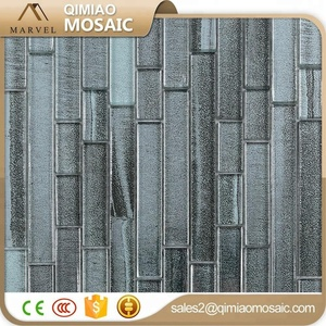 Light Grey Color Rectangle Glass Tile Printing Teak Mosaic