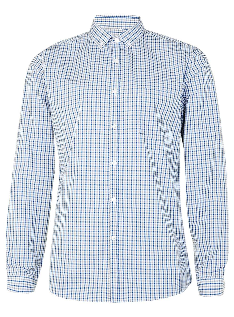 OEM Service Blue And Grey Gingham Button Down Collar Mens Shirt