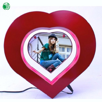 Two Sides Heart Shaped Magnetic Levitation Photo Frame Birthday Gift ...