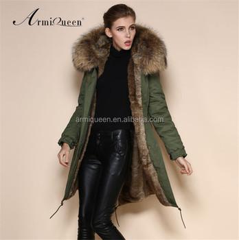 Meifng elegante largo invierno Faux Fur Parka para mujer verde del ejército  chaqueta abrigo chino fabricante c947350d2153