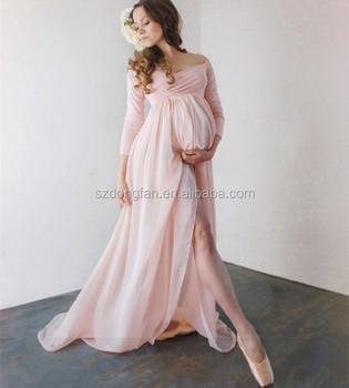 Off The Shoulder Chiffon Maxi Dresses Long Sleeve Maternity Clothes Wedding Dress 2017 Buy Chiffon Maxi Dresses Alibaba Wedding Dress Off The