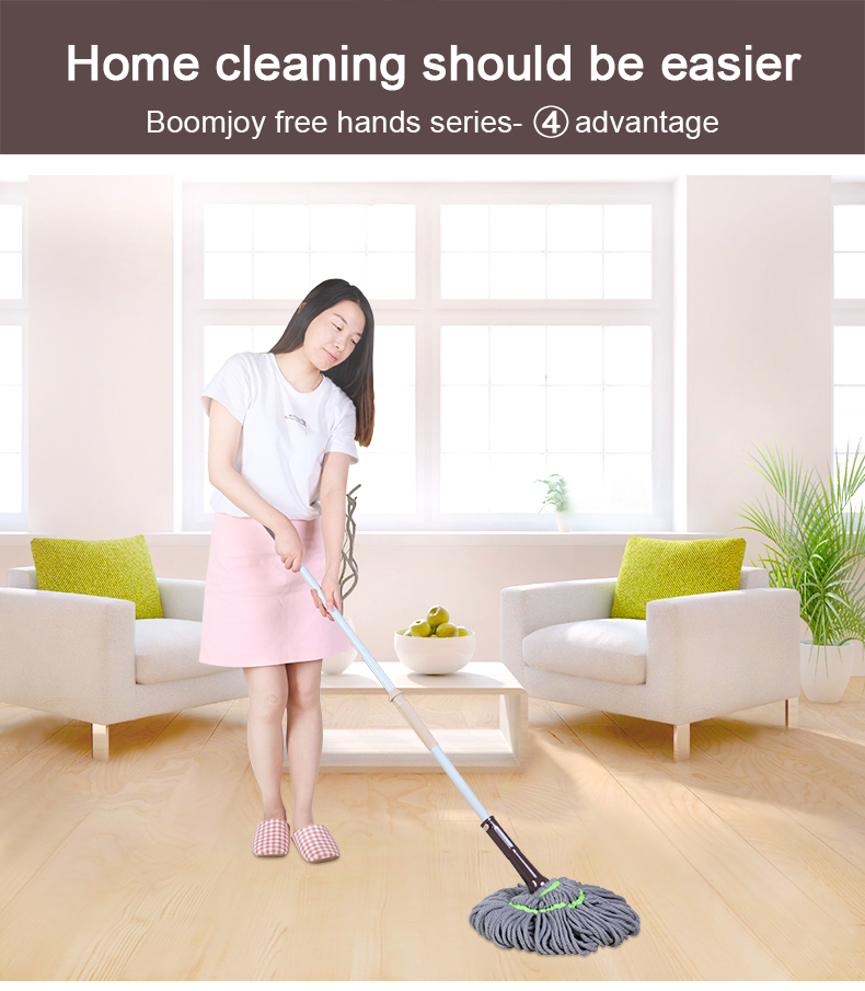Boomjoy 360 Twist Yarn Mop Hands Free Cleaning Mop Lazy Floor Cleaning Mop