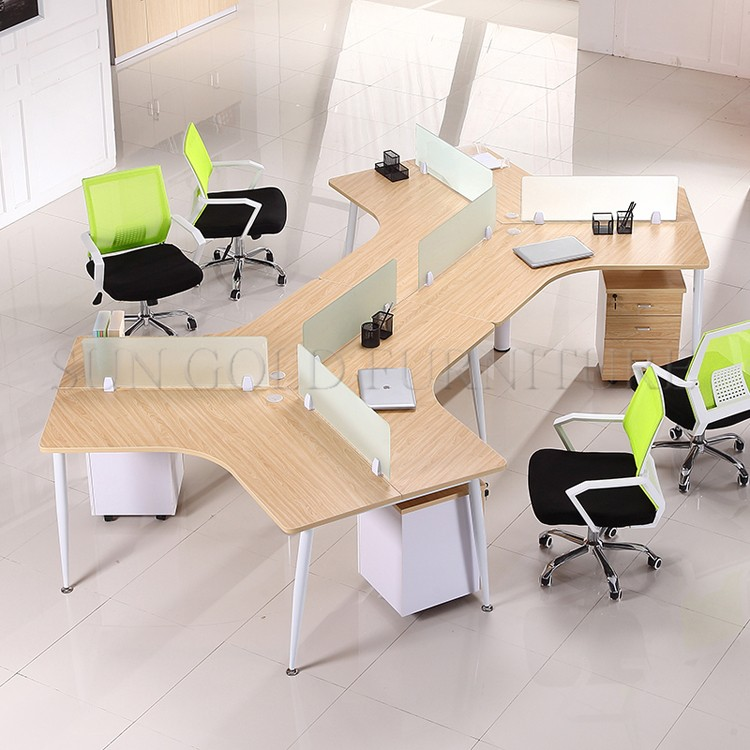 Modern Y Shaped 6 Person Office Workstation Call Center