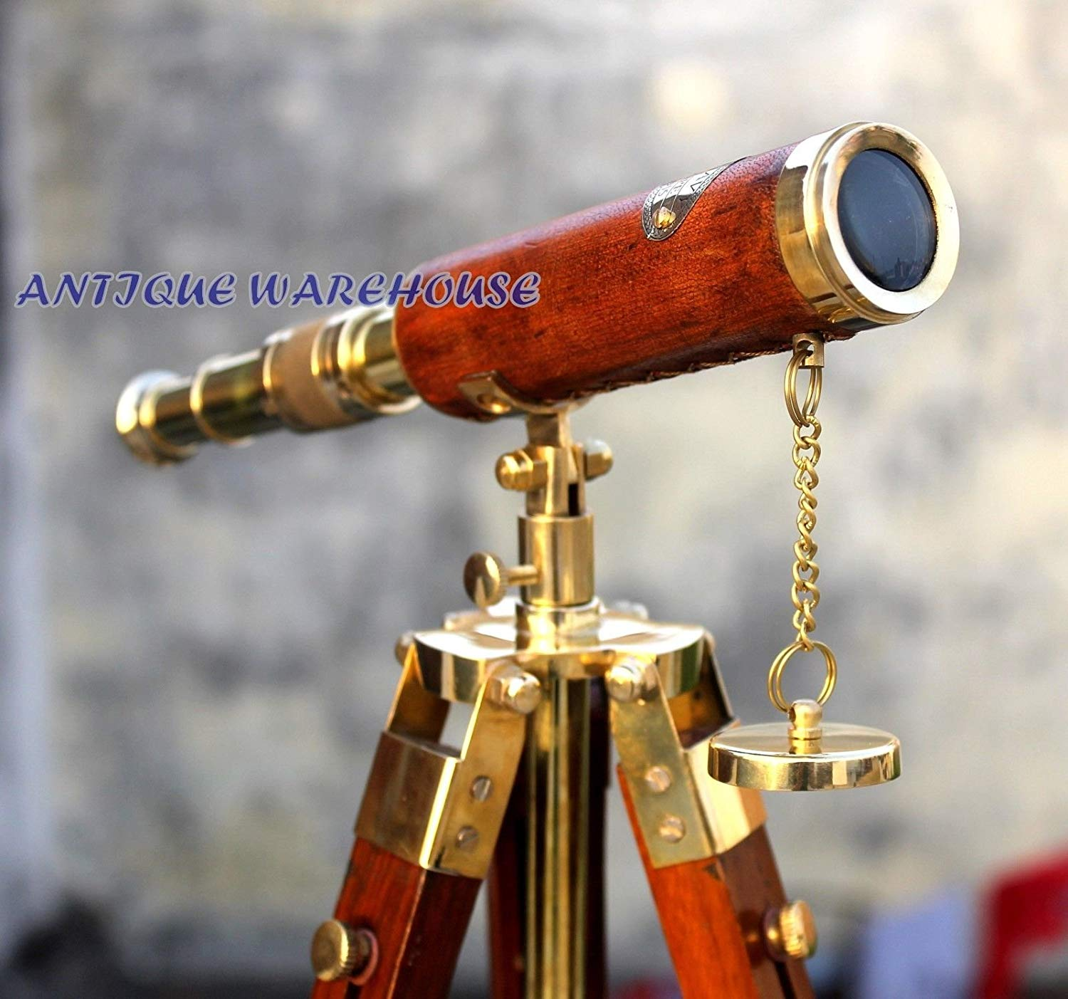 Handmade Solid Brass Telescope With Wooden Tripod Nautical Leather Spyglass Gift C