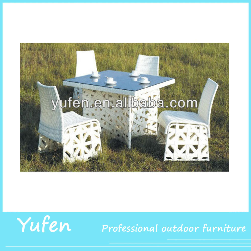 rattan furniture white plastic outdoor table and chair