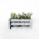 Antique grey wooden crate flower planter holding 2 pc decorative glass vase