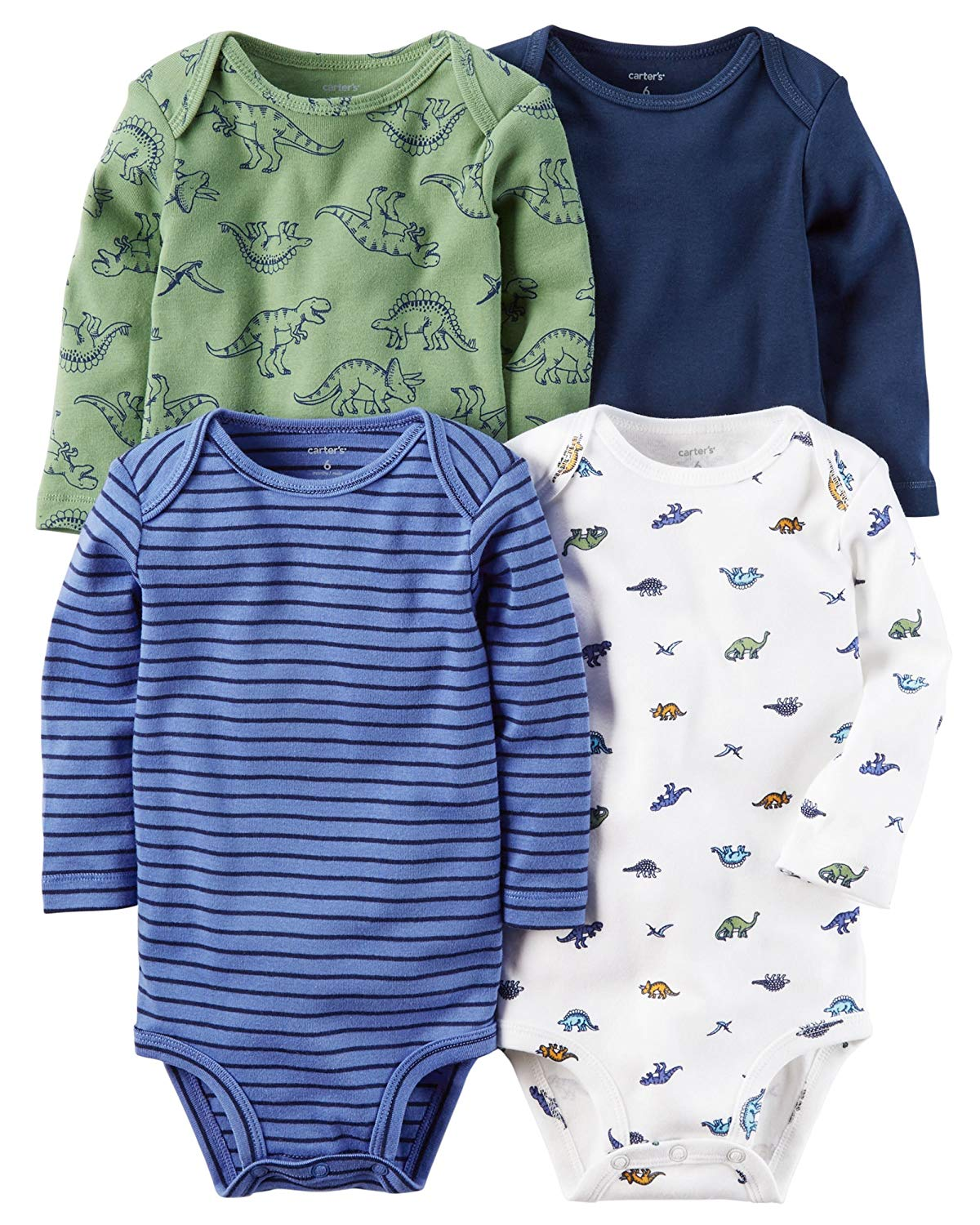 9fbb1f3e8a5 Get Quotations · William Carter Baby Boys  4 Pack Long Sleeve Bodysuits  Undershirt Set (Baby) Dinosaurs