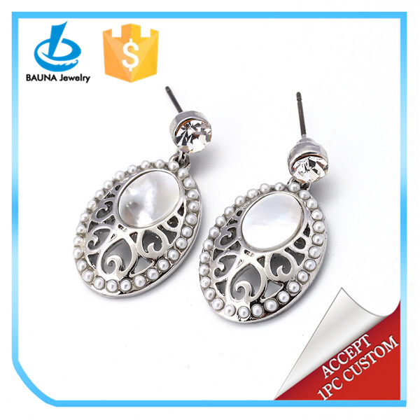Unique design nice oval opal earrings silver dangle stud earring with lots small pearl made in China
