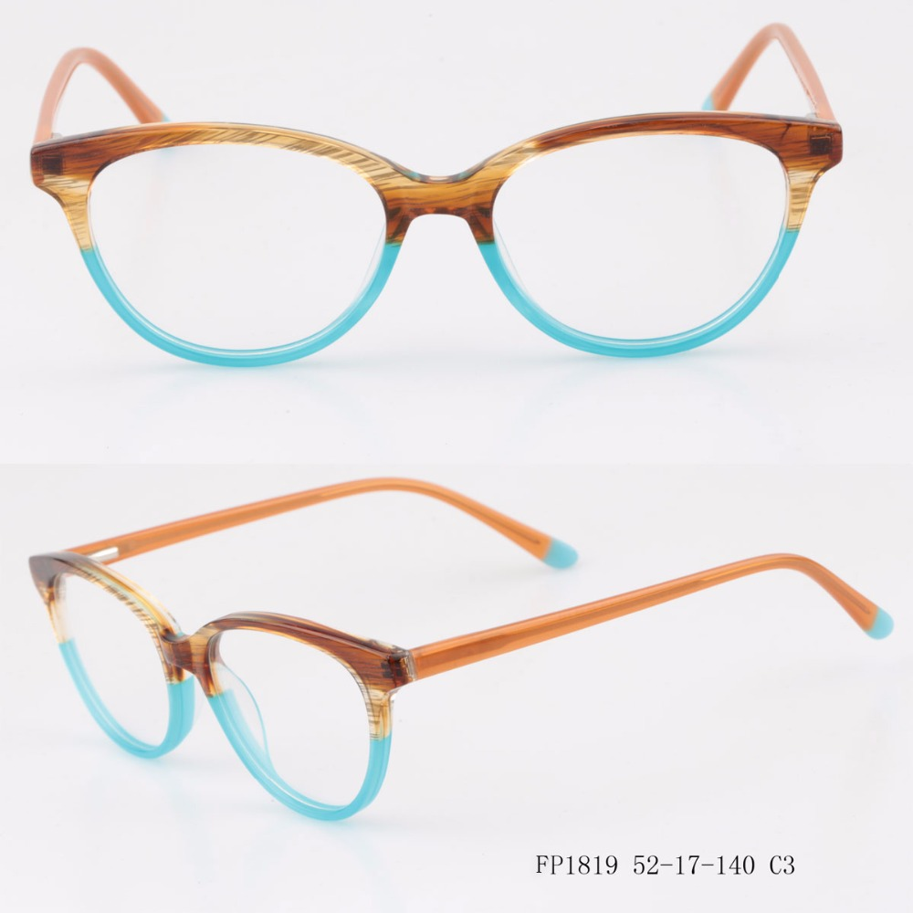 2017 Hot Selling Laminated Acetate Glasses Custom Logo Lady Style Colorful Ready Stock Optical Frames NO MOQ