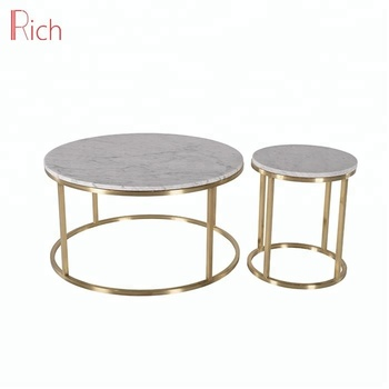 Stainless Steel Rose Gold Fish Side Table Marble Top Round Coffee Tables For Product