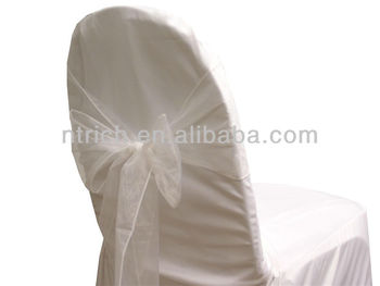 white fancy vogue crystal organza chair sash tie back bow tie knot