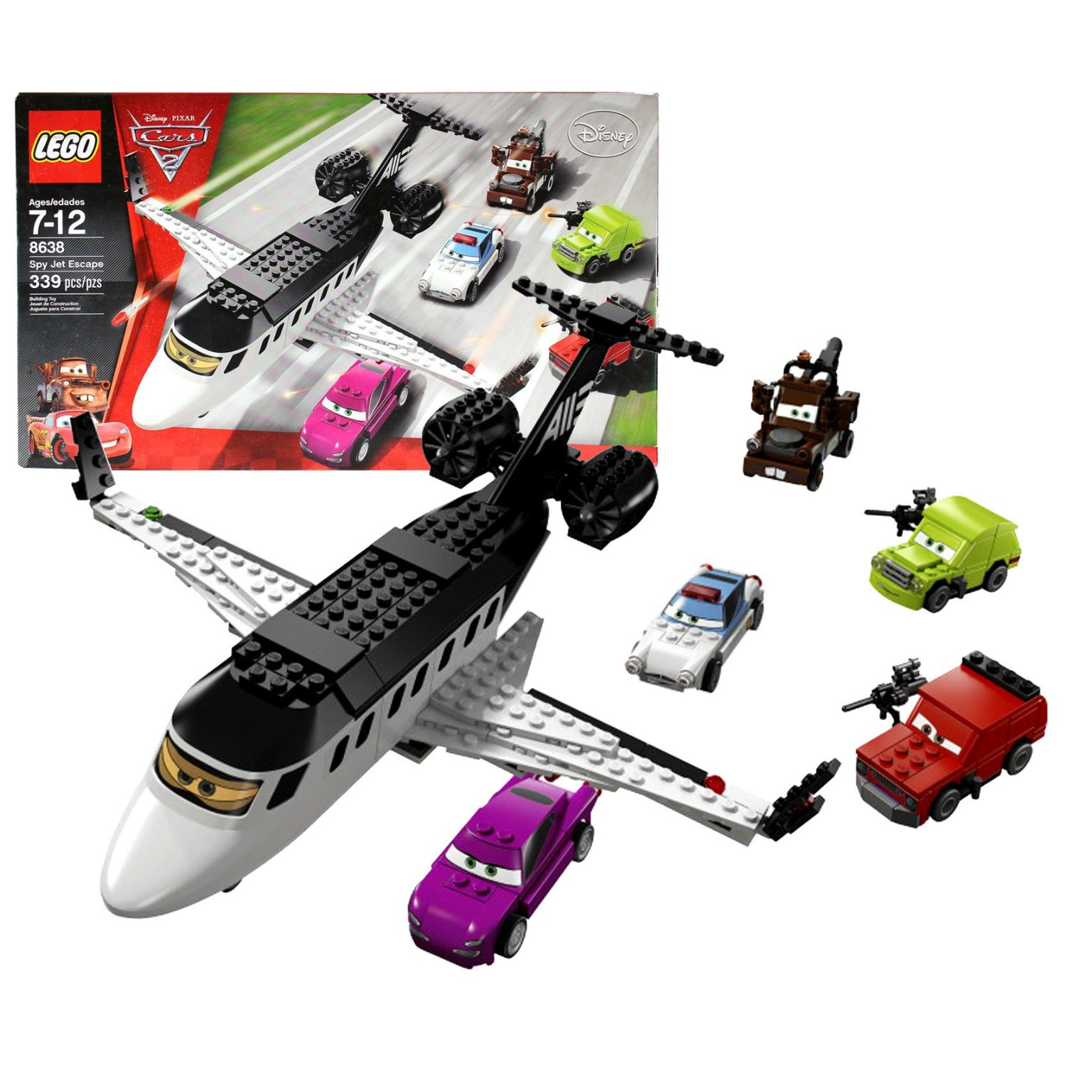 "Lego Year 2011 Disney Pixar ""Cars 2"" Movie Scene Set #8638 - SPY JET ESCAPE with Siddeley the Spy Jet, Police Car Finn McMissile, Holley Shiftwell, Agent Mater, Grem and Acer Lemons (Total Pieces: 339)"