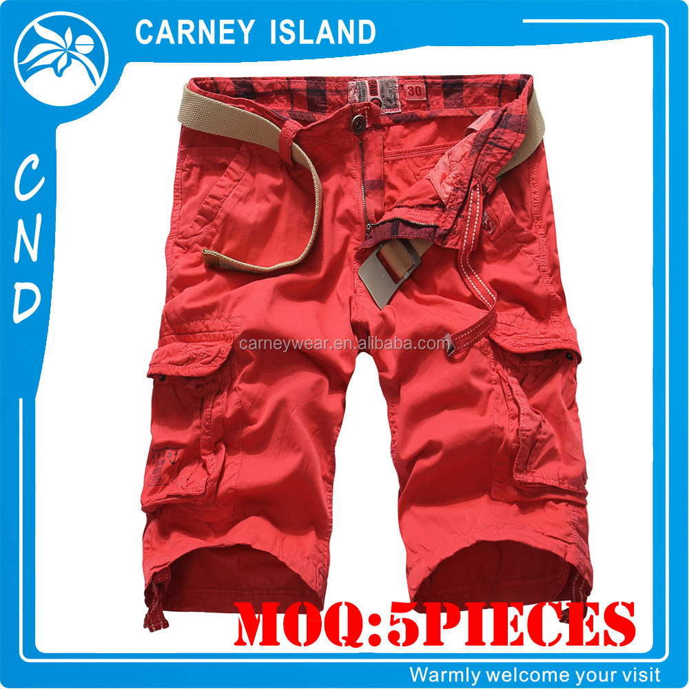 red color Garment Dyed cargo Pockets Modern Cotton Shorts
