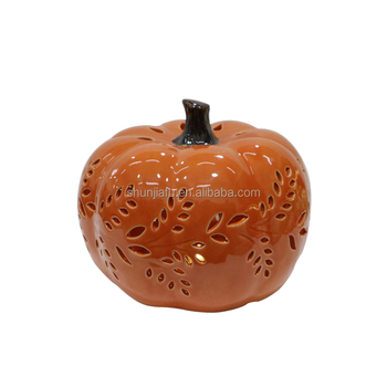 Hot Selling Wholesale Halloween Decoration Figurine Ceramic Pumpkin Lantern