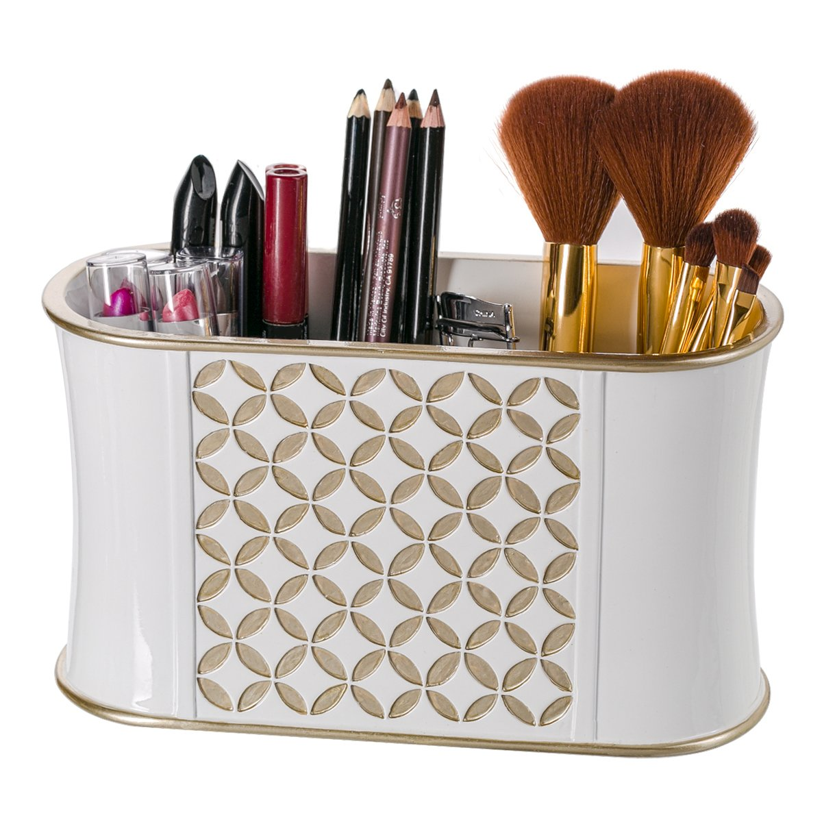 Diamond Lattice Makeup Brush Holder, Sink Cabinet Vanity Organizers   Decorative Bathroom Countertop Makeup Organizer
