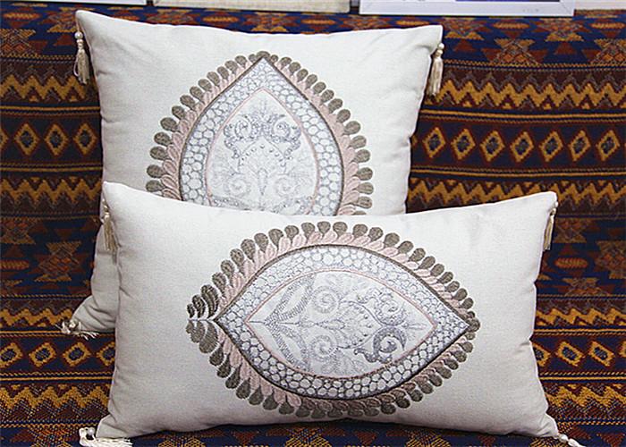 Handmade Knitting White Linen Cushion Sofa Throw Pillows