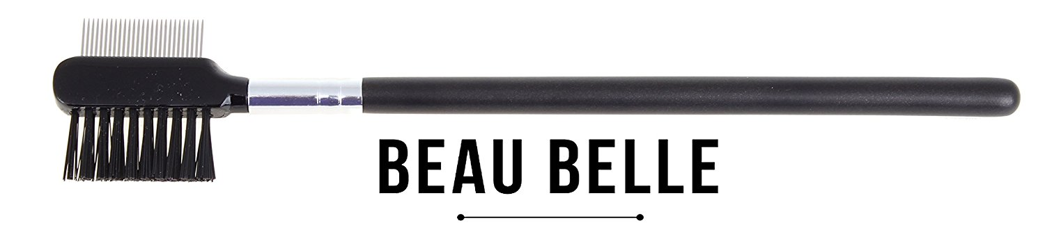Beau Belle Eyebrow and Eyelash Brush - Eyelash Comb - Eyebrow Brush - Brow and Lash Brush - Lash Comb - Brow Brush - Eyebrow Comb - Eyelash and Eyebrow Brush - (Black - Black Bristles)