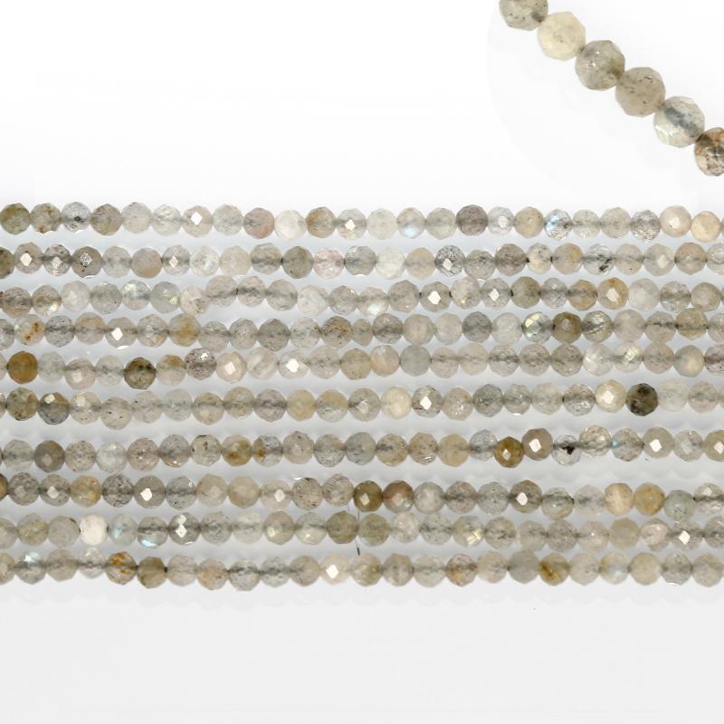 Naturel Perles de Pierre À Facettes À Facettes Rond Gris Spectrolite Pierres