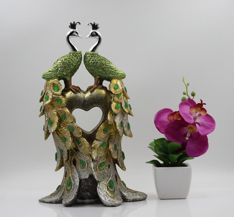Painted Couple Peacock Wedding Gifts Unique Delicate Home: Table Decorative Crafts Unique Home Decor Resin Crafts